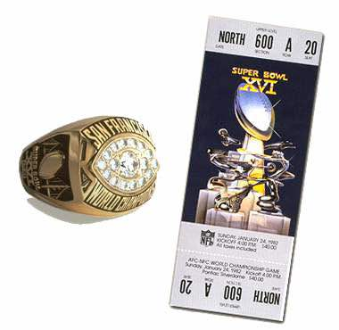 Super Bowl XVI Championship Ring and Game Ticket