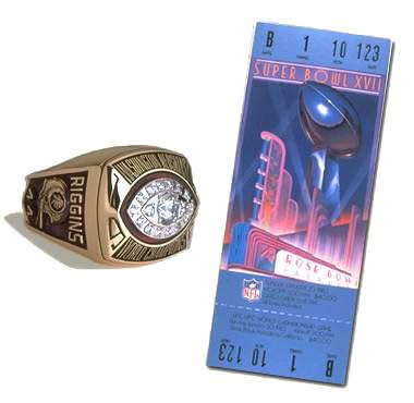 Super Bowl XVII Championship Ring and Game Ticket