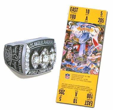 Super Bowl XVIII Championship Ring and Game Ticket