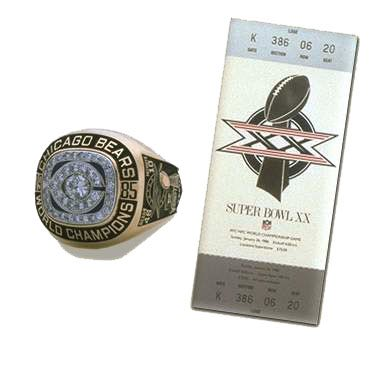 Super Bowl XX Championship Ring and Game Ticket