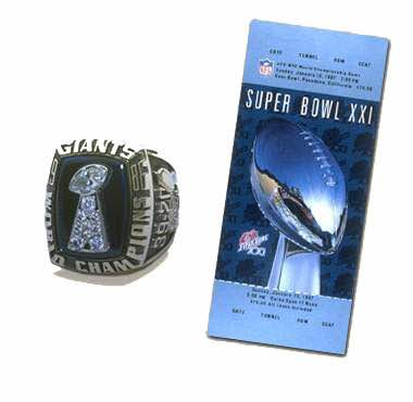 Super Bowl XXI Championship Ring and Game Ticket