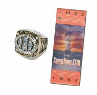 Super Bowl XXIII Championship Ring and Game Ticket