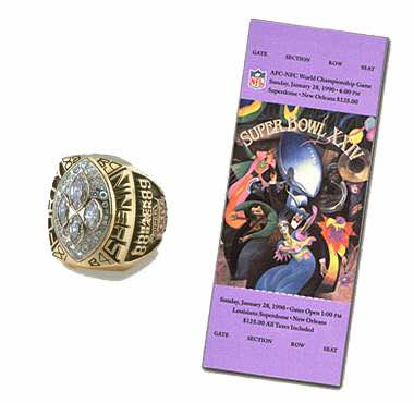 Super Bowl XXIV Championship Ring and Game Ticket