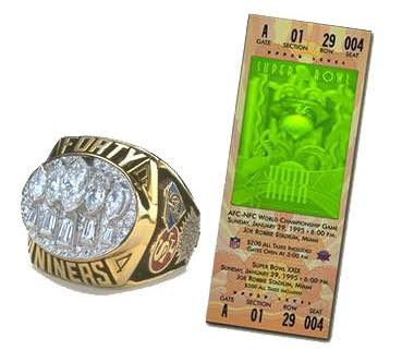 Super Bowl XXIX Championship Ring and Game Ticket