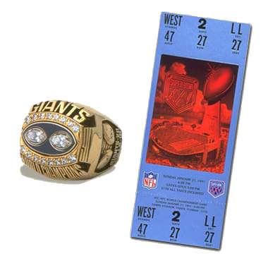 Super Bowl XXV Championship Ring and Game Ticket