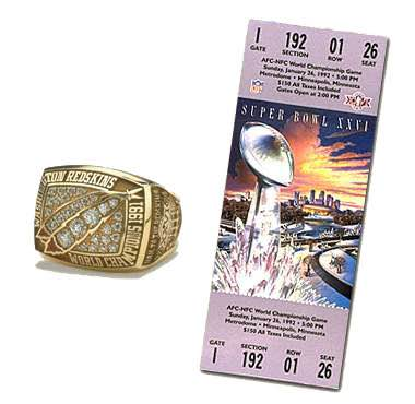 Super Bowl XXVI Championship Ring and Game Ticket