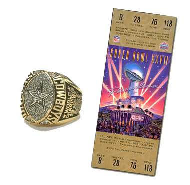 Super Bowl XXVII Championship Ring and Game Ticket