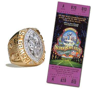 Super Bowl XXVIII Championship Ring and Game Ticket