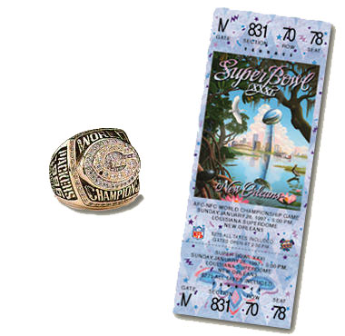 Super Bowl XXXI Championship Ring and Game Ticket