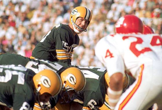 Super Bowl I MVP Bart Starr quarterbacks the Green Bay Packers 35 Kansas City Chiefs 10 to victory