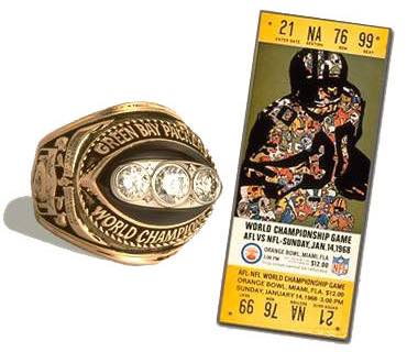 Super Bowl II Championship Ring and Game Ticket Super Bowl II: Green Bay Packers 33 Oakland Raiders 14 | MVP Bart Starr, QB, Green Bay Packers