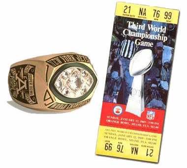 Super Bowl III Championship Ring and Game Ticket Super Bowl III: New York Jets 16 Baltimore Colts 7 | MVP Joe Namath, QB, New York Jets