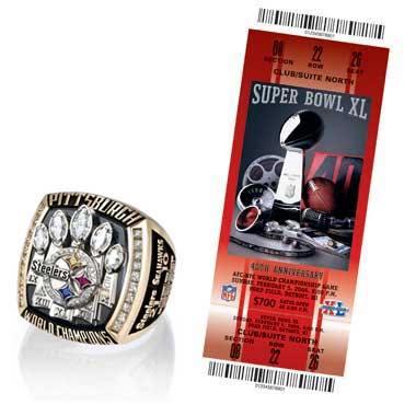 Super Bowl XL Championship Ring and Game Ticket Super Bowl XL: New England Patriots 24 Philadelphia Eagles 21 | MVP: Deion Branch, WR, New England Patriots