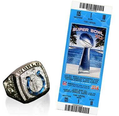 Super Bowl XL Championship Ring and Game Ticket Super Bowl XLI - Indianapolis Colts 29 Chicago Bears 17 - MVP Colts QB Peyton Manning