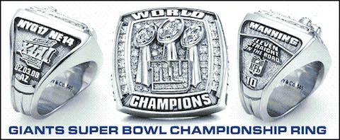 Super Bowl XL Championship Ring and Game Ticket Super Bowl XLII - Giants Defeat Patriots 17 - 14 Eli Manning MVP