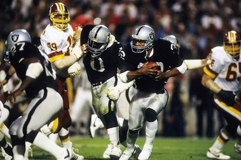 Super Bowl XVIII: Los Angeles Raiders  38  Washington Redskins  9 | MVP Marcus Allen, RB, Los Angeles Raiders