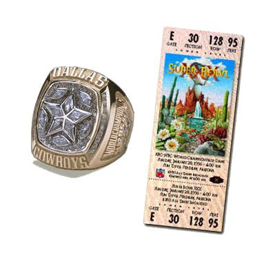 Super Bowl XXX Championship Ring and Game Ticket Super Bowl XXX: Dallas Cowboys 27 Pittsburgh Steelers 17 | MVP Larry Brown, CB, Dallas Cowboys
