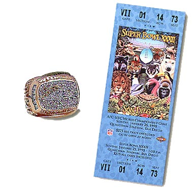 Super Bowl XXXII Championship Ring and Game Ticket Super Bowl XXXII: Denver Broncos 31 Green Bay Packers  24  | MVP Terrell Davis, RB, Denver Broncos