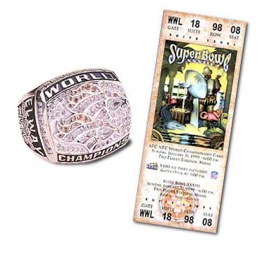 Super Bowl XXXIII Championship Ring and Game Ticket Super Bowl XXXIII: Denver Broncos  34  Atlanta Falcons  19  | MVP John Elway, QB, Denver Broncos