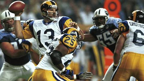 Super Bowl XXXIV: Saint Louis Rams 23 Tennessee Titans  16 | MVP: Kurt Warner, QB, Saint Louis Rams