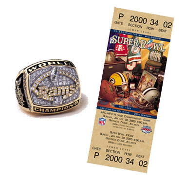 Super Bowl XXXIV Championship Ring and Game Ticket Super Bowl XXXIV: Saint Louis Rams 23 Tennessee Titans  16 | MVP: Kurt Warner, QB, Saint Louis Rams