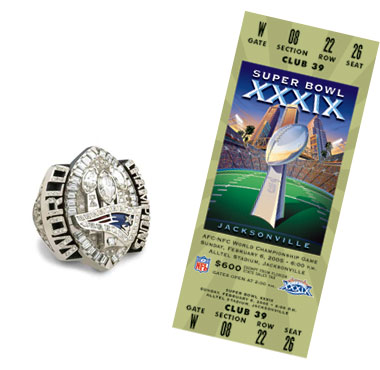 Super Bowl XXXIX Championship Ring and Game Ticket Super Bowl XXXIX: New England Patriots 24 Philadelphia Eagles 21 | MVP: Deion Branch, WR, New England Patriots