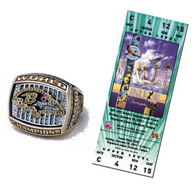 Super Bowl XXXV Championship Ring and Game Ticket Super Bowl XXXV: Baltimore Ravens  34  New York Giants  7  | MVP: Ray Lewis, LB, Baltimore Ravens
