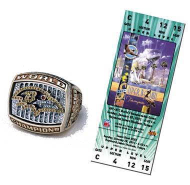 Super Bowl XXXV Championship Ring and Game Ticket Super Bowl XXXV: Baltimore Ravens  34  New York Giants  7  | MVP: Ray Lewis, LB, Baltimore Ravens