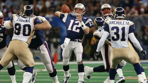 Super Bowl XXXVI: New England Patriots  20  Saint Louis Rams 17 | MVP: Tom Brady, QB, New England Patriots