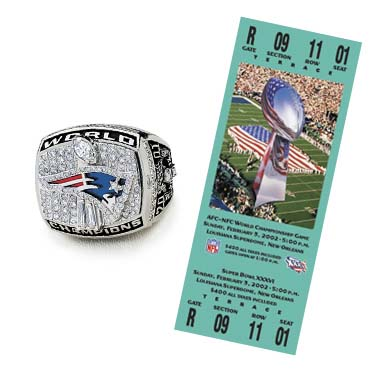 Super Bowl XXXVI Championship Ring and Game Ticket Super Bowl XXXVI: New England Patriots  20  Saint Louis Rams 17 | MVP: Tom Brady, QB, New England Patriots