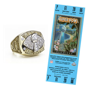 Super Bowl XXXVII Championship Ring and Game Ticket Super Bowl XXXVII: Tampa Bay Buccaneers 48 Oakland Raiders  21 | MVP: Dexter Jackson, FS, Tampa Bay Buccaneers