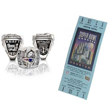 Super Bowl XXXVIII Championship Ring and Game Ticket Super Bowl XXXVIII: New England Patriots  32  Carolina Panthers  29 | MVP: Tom Brady, QB, New England Patriots