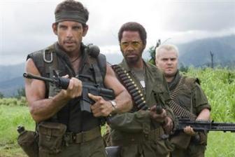 Tropic Thunder Movie Review Starring Ben Stiller, Jack Black, Robert Downey Jr., Brandon T. Jackson, Jay Baruchel, Tom Cruise, Nick Nolte, Matthew McConoughey, Steve Coogan