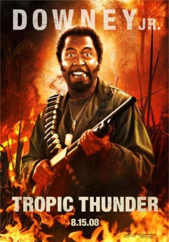 Tropic Thunder Movie Review Starring Ben Stiller, Jack Black, Robert Downey Jr., Brandon T. Jackson, Jay Baruchel, Tom Cruise, Nick Nolte, Matthew McConoughey, Steve Coogan