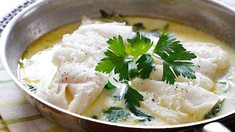 Wolfgang Puck Recipes Italian-Style Poached Halibut in Broth. Simmering wine with the vegetables coaxes out their flavor and intensifies the liquid.